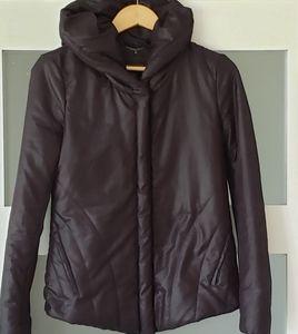 BCBGMAXAZRIA  Puffy Black Hooded Coat Jacket S